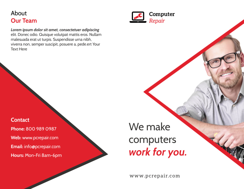 Red Computer Repair Bi-Fold Brochure Template Preview 2