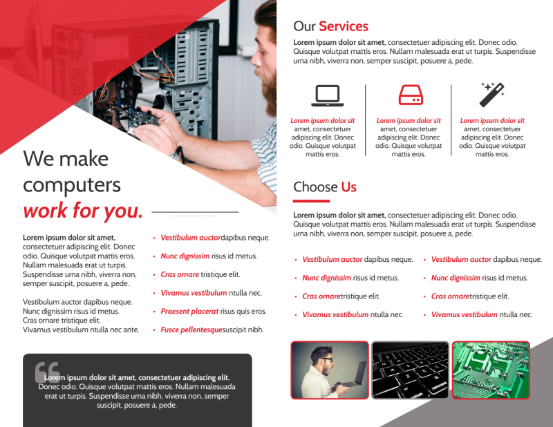 Red Computer Repair Bi-Fold Brochure Template Preview 3