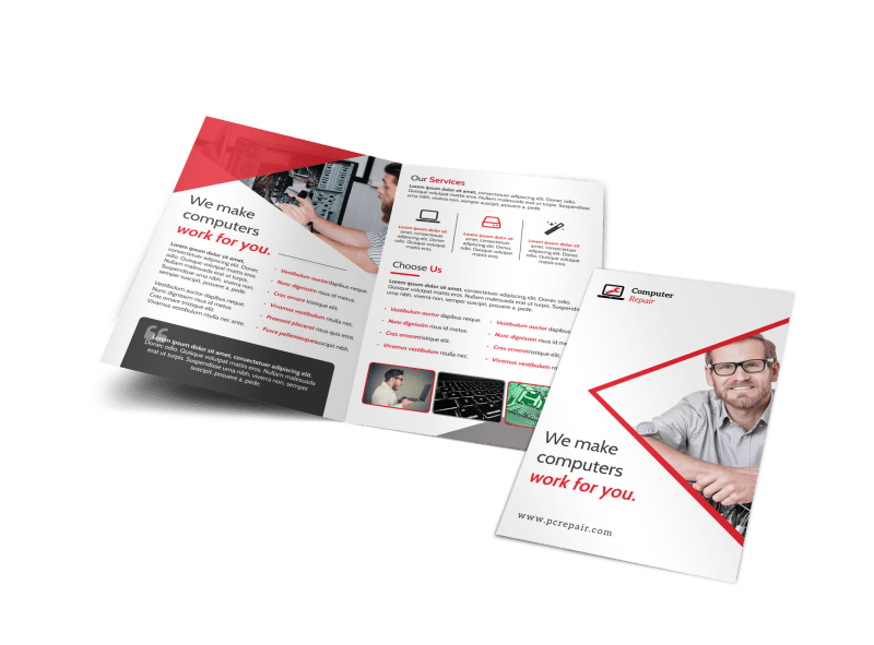 Red Computer Repair Bi-Fold Brochure Template Preview 1