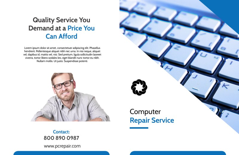 Classic Computer Repair Bi-Fold Brochure Template Preview 2