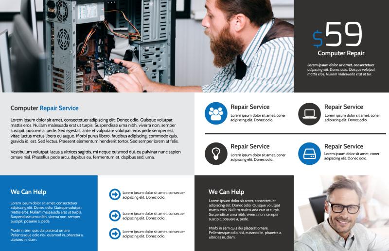Classic Computer Repair Bi-Fold Brochure Template Preview 3