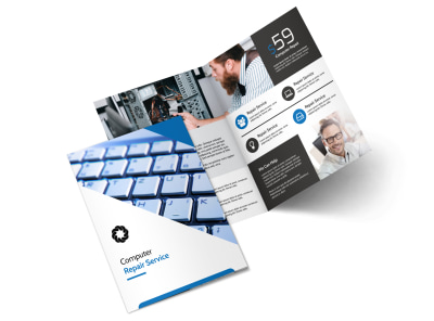 Classic Computer Repair Bi-Fold Brochure Template preview
