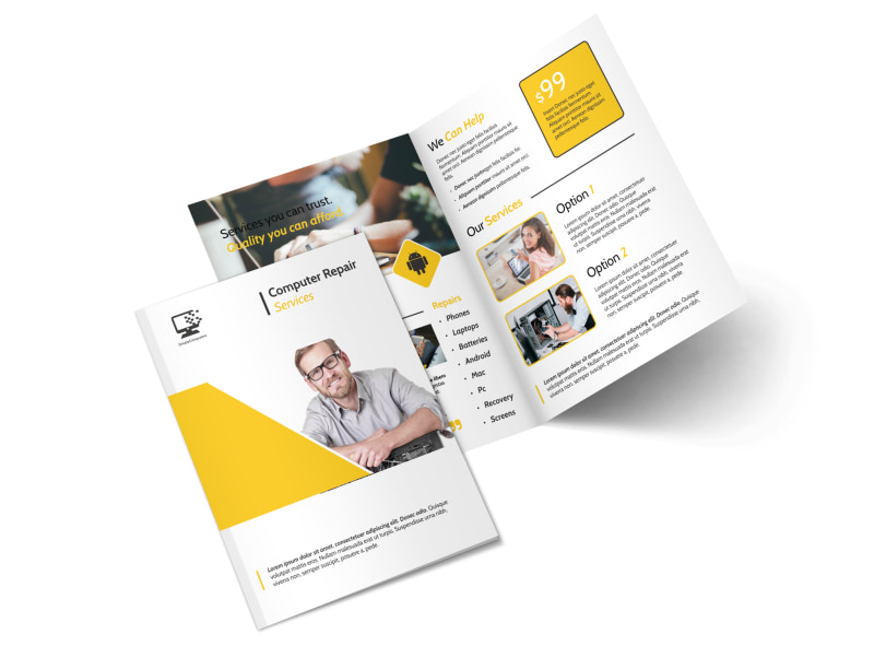Yellow Computer Repair Bi-Fold Brochure Template