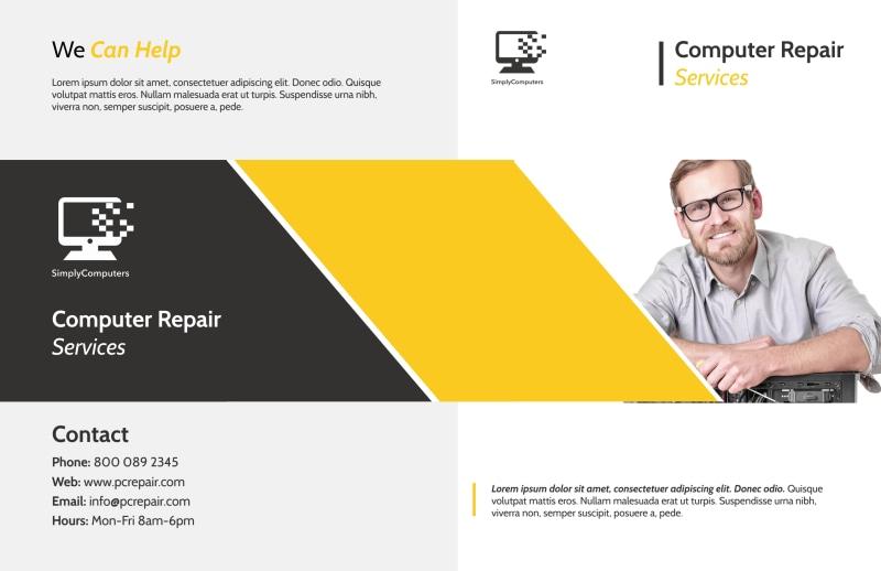 Yellow Computer Repair Bi-Fold Brochure Template Preview 2