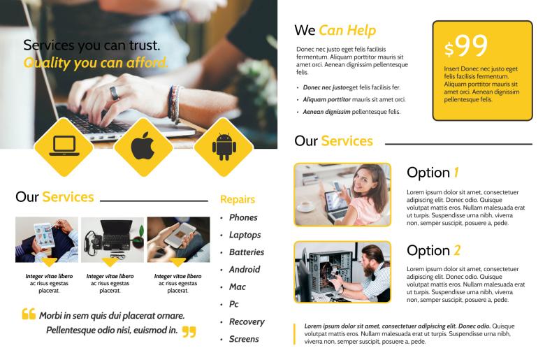Yellow Computer Repair Bi-Fold Brochure Template Preview 3