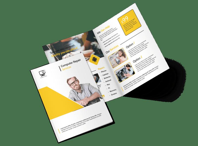 Yellow Computer Repair Bi-Fold Brochure Template Preview 1