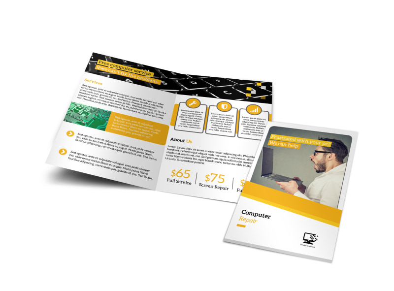 Pro Computer Repair Bi-Fold Brochure Template Preview 4