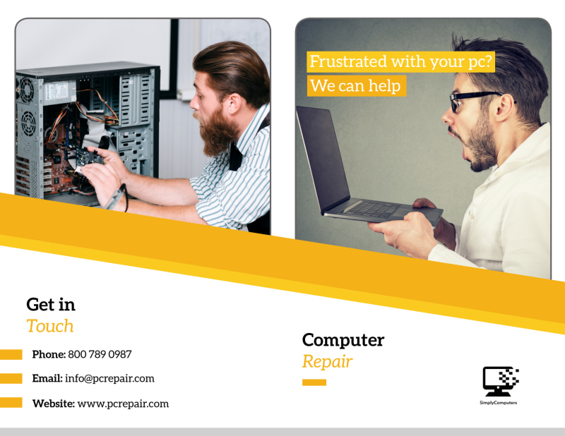 Pro Computer Repair Bi-Fold Brochure Template Preview 2