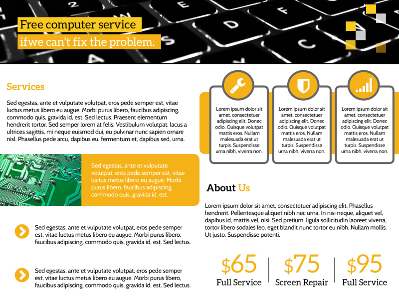 Pro Computer Repair Bi-Fold Brochure Template Preview 3
