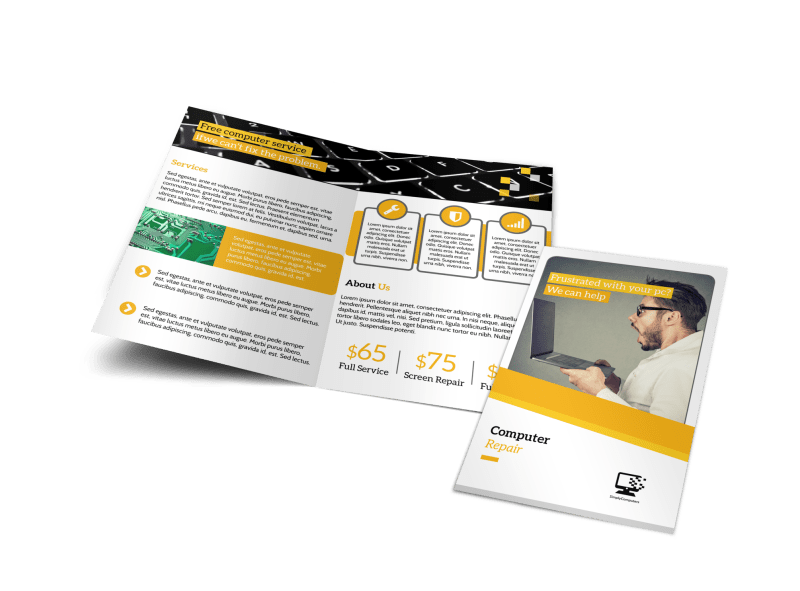Pro Computer Repair Bi-Fold Brochure Template Preview 1