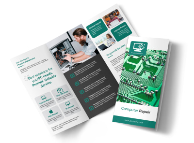 Green Computer Repair Tri-Fold Brochure Template preview