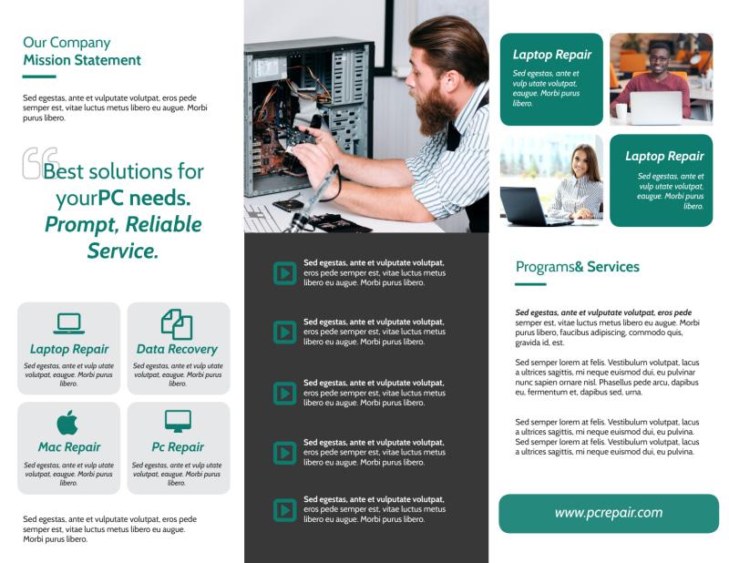 Green Computer Repair Tri-Fold Brochure Template Preview 3