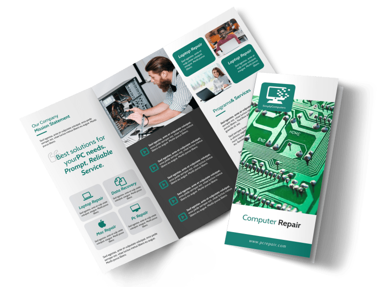 Green Computer Repair Tri-Fold Brochure Template Preview 1