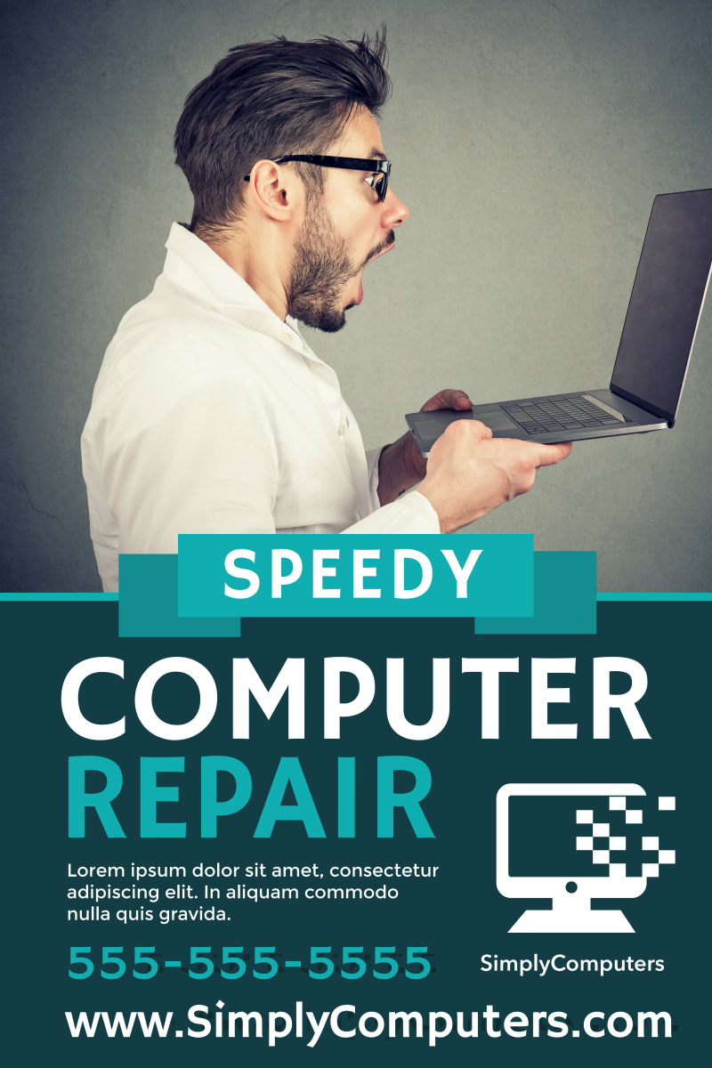 Speedy Computer Repair Poster Template Preview 2