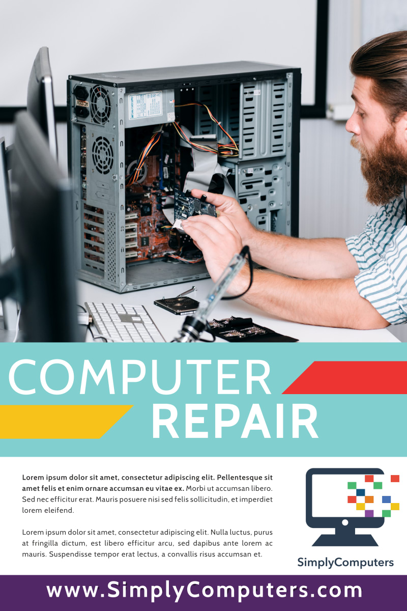 Simple Computer Repair Poster Template Preview 2