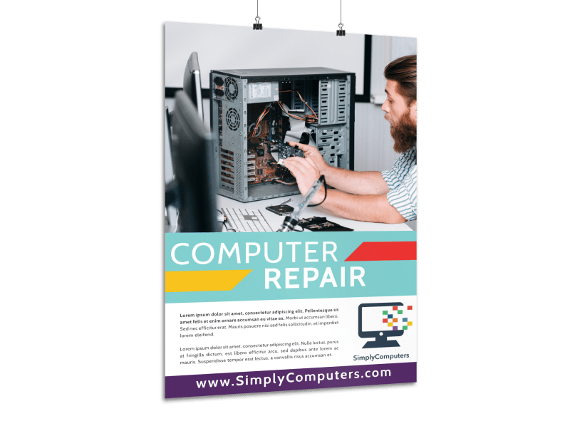 Simple Computer Repair Poster Template Preview 1