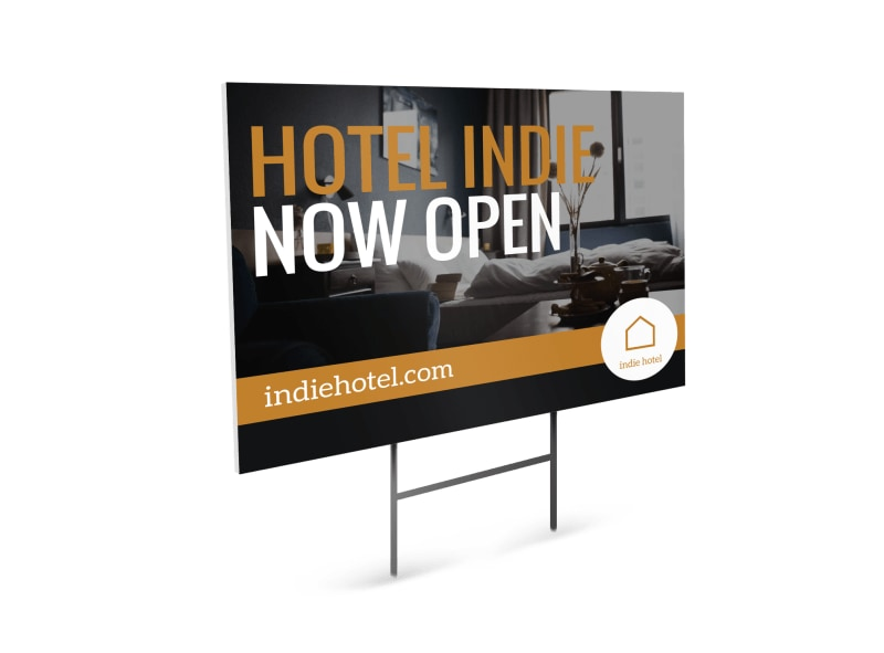 Hotel Now Open Yard Sign Template Preview 4