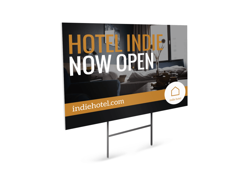 Hotel Now Open Yard Sign Template Preview 1
