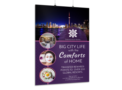 Hotel City Life Poster Template preview
