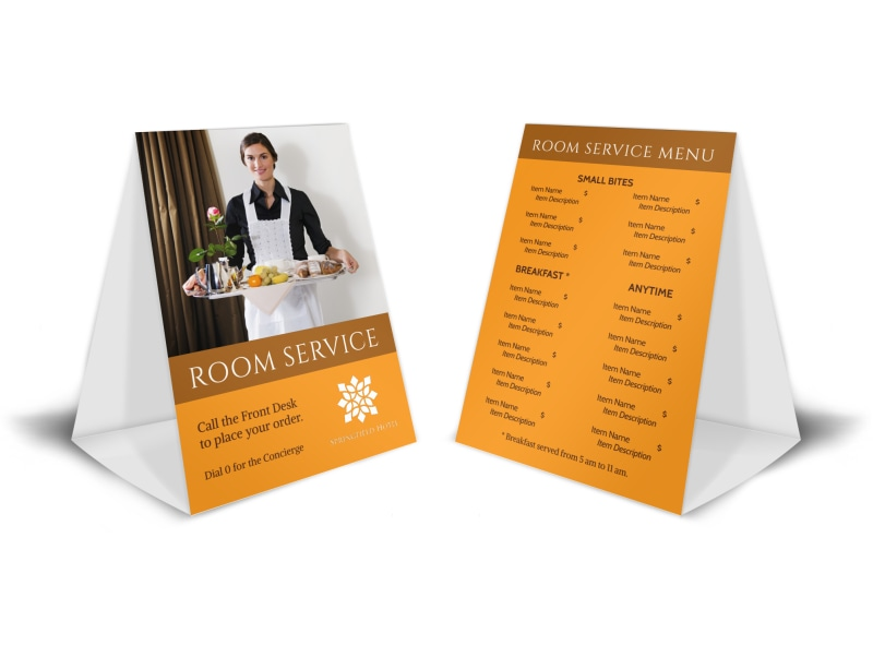Hotel Room Service Table Tent Template Preview 4