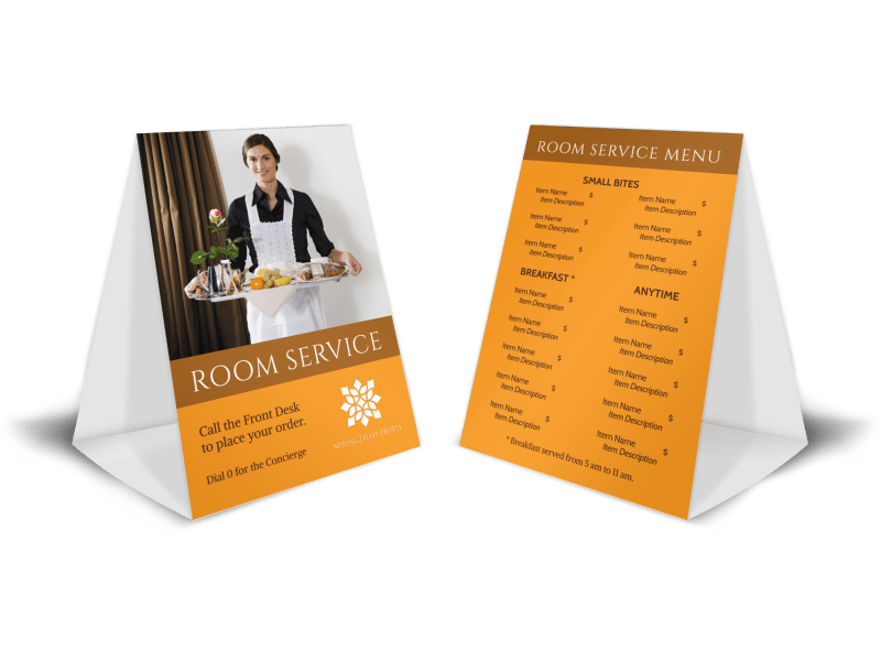 Hotel Room Service Table Tent Template Preview 1