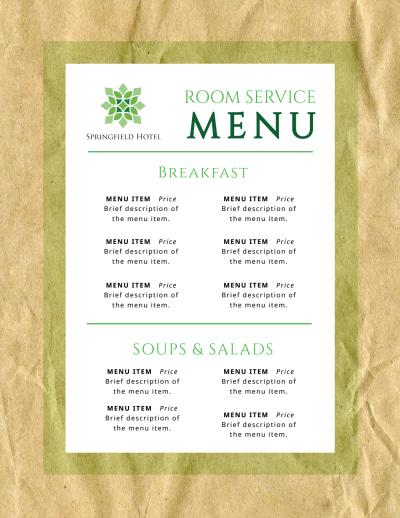 Room Service Hotel Menu Template Preview 1