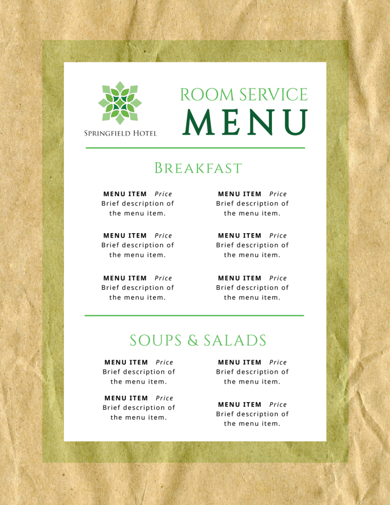 Room Service Hotel Menu Template Preview 2
