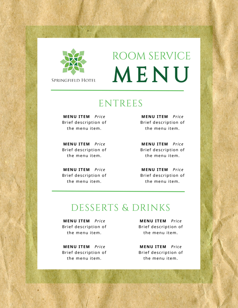Room Service Hotel Menu Template Preview 3