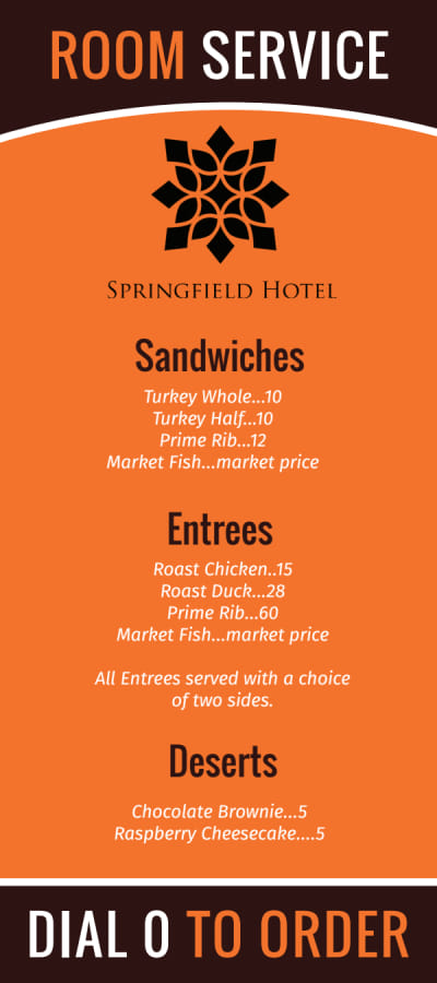 Hotel Room Service Menu Template Preview 2