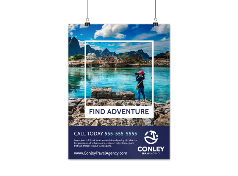 Travel Agent Find Adventure Poster Template