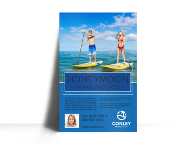 Honeymoon Travel Agent Poster Template preview