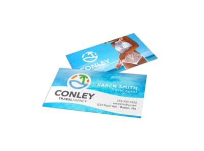 Tropical Travel Agency Business Card Template preview