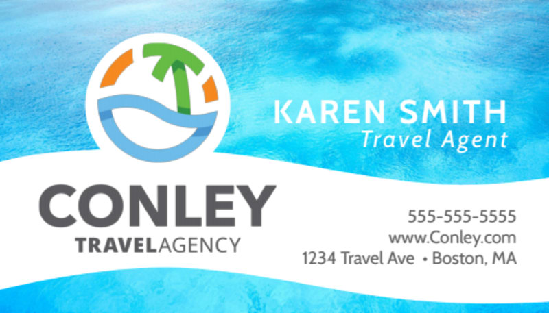 Tropical Travel Agency Business Card Template Preview 2