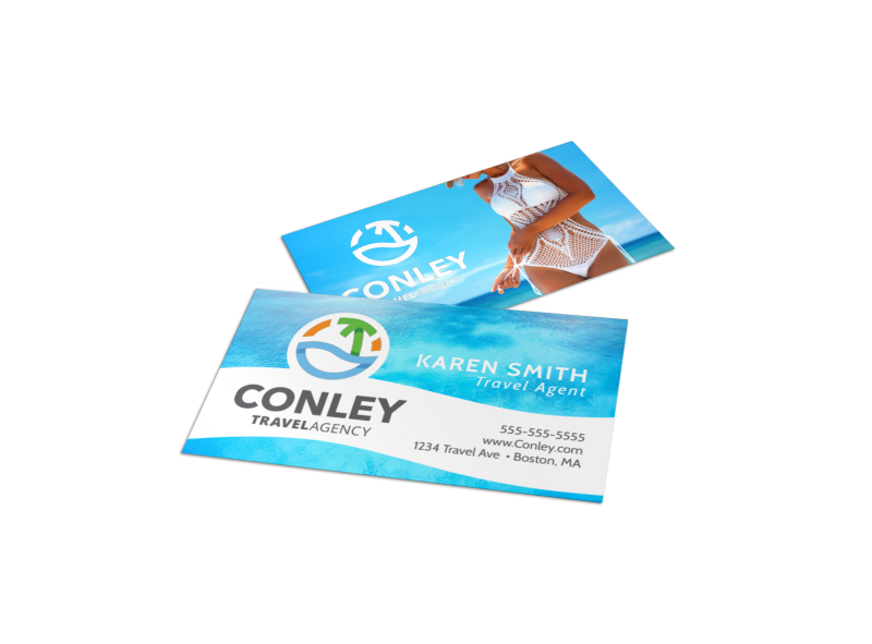 Tropical Travel Agency Business Card Template Preview 1