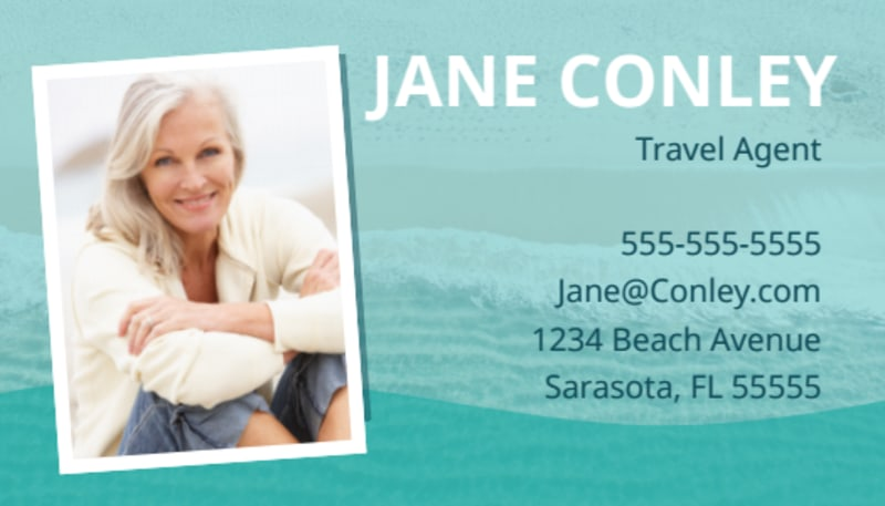 Beach Travel Agent Business Card Template Preview 2