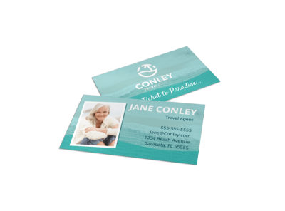 Beach Travel Agent Business Card Template preview