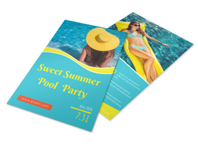 Teal Summer Pool Party Flyer Template preview