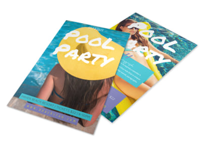 Cool Pool Party Flyer Template preview