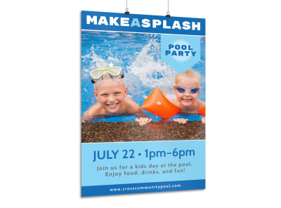 Make A Splash Pool Party Poster Template preview