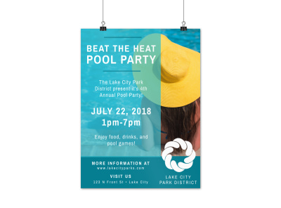 City Pool Party Poster Template preview