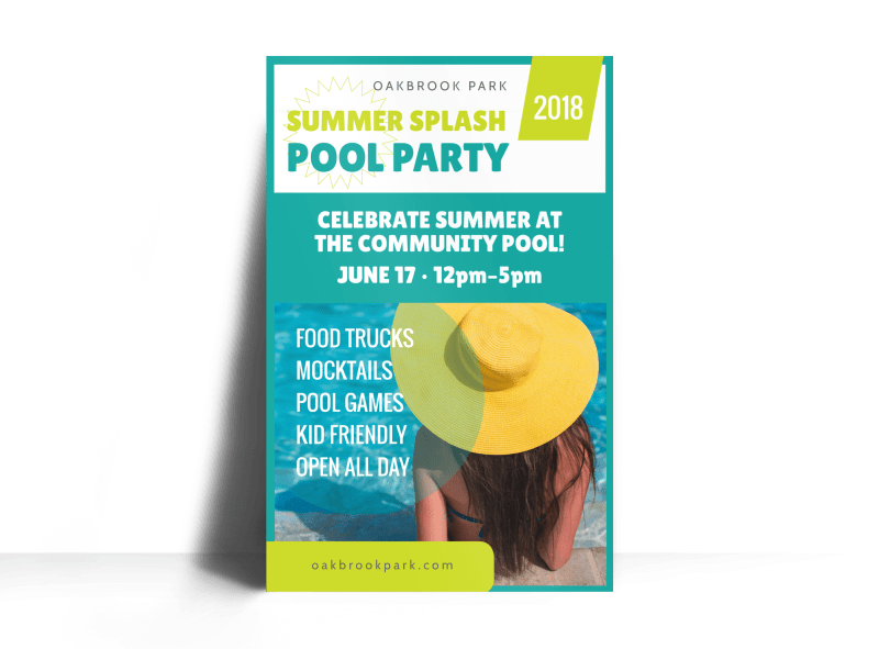 Pool Party Event Poster Template Preview 1