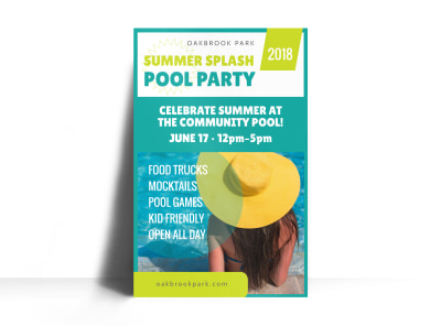 Pool Party Event Poster Template