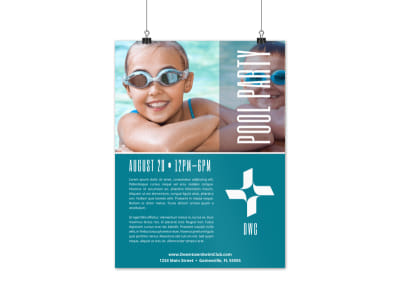 Simple Pool Party Poster Template preview