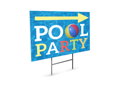 Basic Pool Party Yard Sign Template preview
