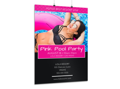 Pink Pool Party Poster Template preview
