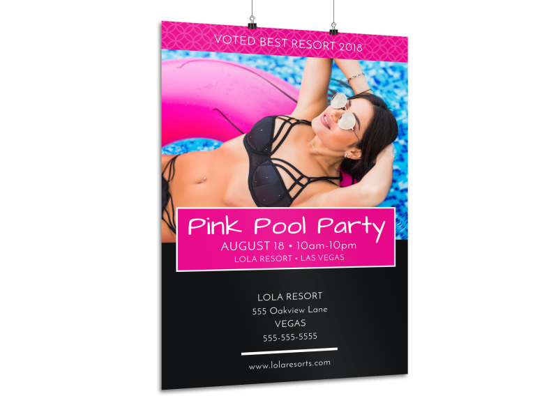 Pink Pool Party Poster Template