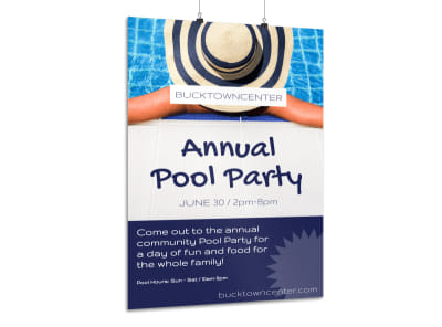 Annual Pool Party Poster Template preview