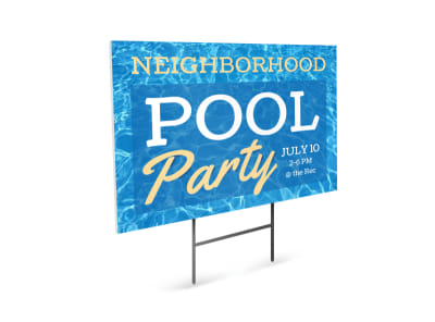 Neighborhood Pool Party Yard Sign Template preview