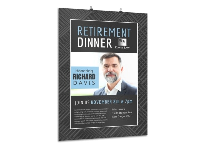 Retirement Party Dinner Poster Template preview