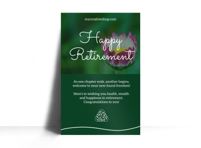 Green Retirement Party Poster Template preview